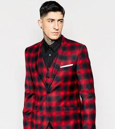 Пиджак суперузкого кроя в клетку с эффектом омбре Heart & Dagger - Красный
