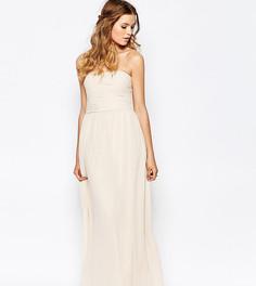 Присборенное платье макси с лифом-бандо Vila - Розовый