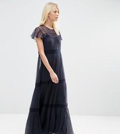 Шифоновое платье макси с кружевом Needle & Thread - Темно-синий