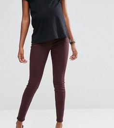 Темно-бордовые джинсы для беременных с посадкой под животом ASOS Maternity Lisbon - Красный