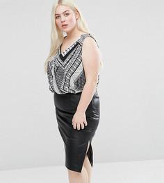 Блузка размера плюс с платочным принтом и запахом спереди Koko - Черный