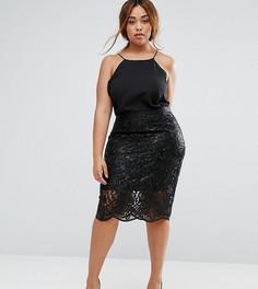 Кружевная юбка-карандаш Coast Plus Lillian - Черный