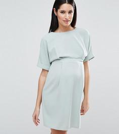 Строгое платье мини с V-образным вырезом на спине ASOS Maternity - Зеленый