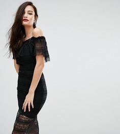 Кружевное платье миди с открытыми плечами и ремешком Bodyfrock - Черный