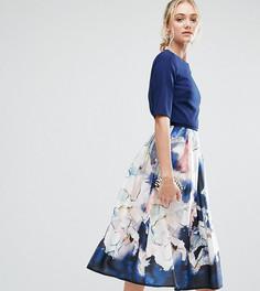 Приталенное платье миди 2 в 1 с цветочным принтом на юбке Little Mistress Tall - Мульти