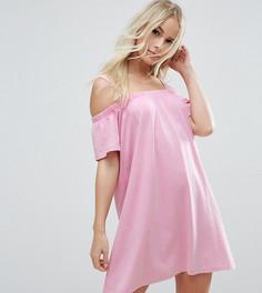 Цельнокройное платье мини с открытыми плечами ASOS PETITE - Розовый