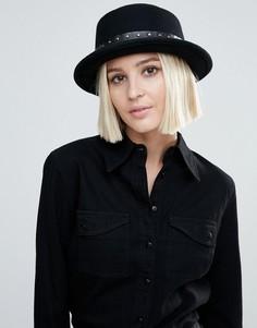 Шляпа с плоскими полями и заклепками на ленте Genie by Eugenia Kim Devon - Черный