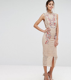 Кружевное платье миди с вышивкой и высокой горловиной Hope & Ivy - Розовый