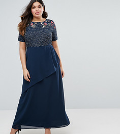 Декорированное платье макси с запахом на юбке Lovedrobe Luxe Rose - Темно-синий