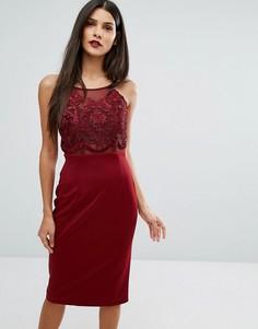 Облегающее платье миди с кружевным лифом Forever Unique - Красный