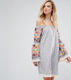 Платье с цветочной вышивкой на рукавах Glamorous Tall - Мульти