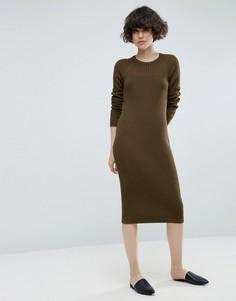 Платье миди крупной вязки со вставкой в рубчик ASOS - Светло-серый