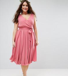 Платье миди с бантом ASOS CURVE WEDDING - Розовый