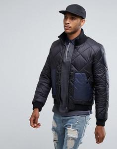 Стеганая куртка с контрастным карманом Another Influence - Черный