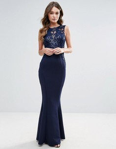 Платье макси с пайетками Lipsy - Темно-синий