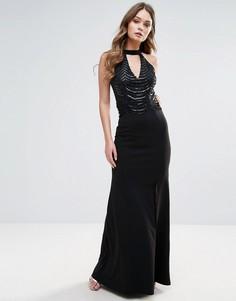 Платье макси с пайетками и лентой на шее Lipsy - Черный