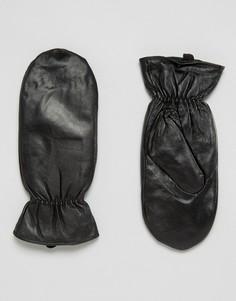 Кожаные варежки Pieces - Черный