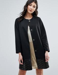 Прямое пальто с жаккардовой кромкой Traffic People - Черный