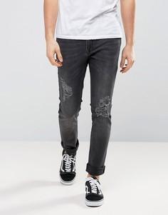 Выбеленные эластичные черные джинсы скинни с рваной отделкой Zeffer - Черный