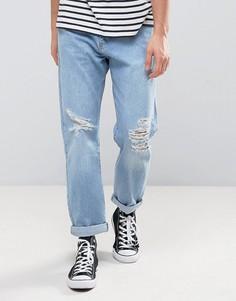 Выбеленные расклешенные джинсы цвета светлого индиго Zeffer - Синий
