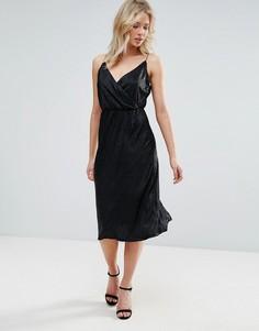 Платье миди на бретелях с запахом и эффектом металлик Zibi London - Черный