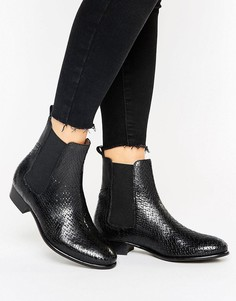 Кожаные ботинки челси на плоской подошве H by Hudson - Черный