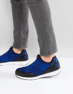 Синие трикотажные кроссовки с логотипом Armani Jeans - Серый