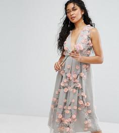 Платье миди в винтажном стиле с вышивкой и объемной аппликацией Amelia Rose - Зеленый