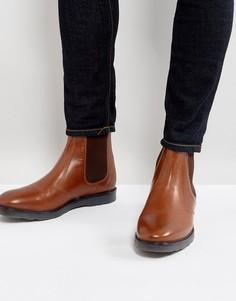 Светло-коричневые кожаные ботинки челси на толстой подошве ASOS - Рыжий