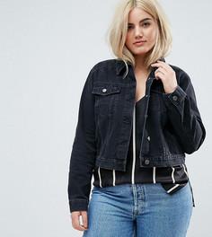 Черная выбеленная джинсовая куртка ASOS CURVE - Черный