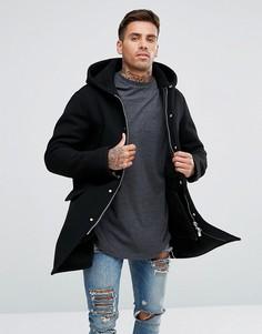 Черное пальто с добавлением шерсти и капюшоном Armani Jeans - Черный