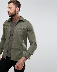 Рубашка с вышивкой на спине Replay - Зеленый