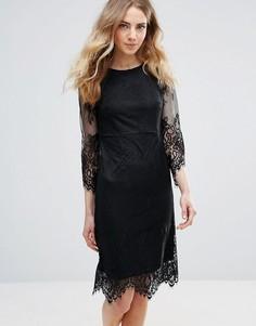 Кружевное платье с фигурными краями Ichi - Черный