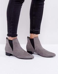 Ботинки на среднем каблуке с острым носком London Rebel - Серый