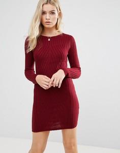 Платье-джемпер в рубчик Brave Soul - Красный