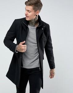 Пальто милитари из ткани с добавлением шерсти Bellfield - Черный