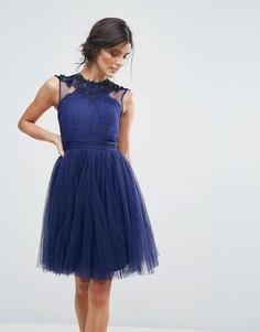 Платье для выпускного из сетчатого материала с кружевными вставками Little Mistress - Темно-синий