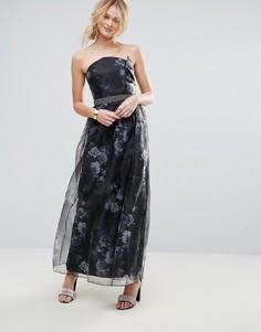 Платье макси из органзы Little Mistress - Черный