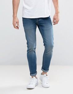 Синие выбеленные эластичные джинсы слим Solid - Синий