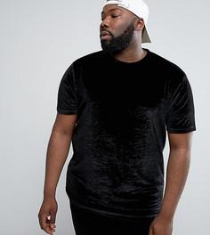 Длинная черная велюровая футболка ASOS PLUS - Черный