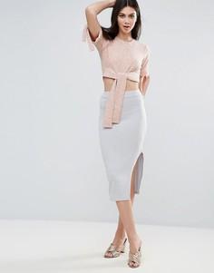 Трикотажная юбка в рубчик с разрезом Lavish Alice - Серый