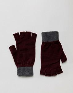 Бордовые перчатки без пальцев с серыми манжетами ASOS - Фиолетовый