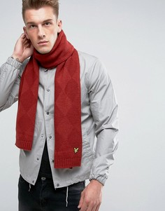 Вязаный шарф с узором в ромбик Lyle & Scott - Красный