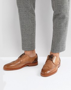 Светло-коричневые кожаные броги Hudson London Osney - Рыжий
