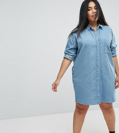 Синее джинсовое платье-рубашка ASOS CURVE - Синий
