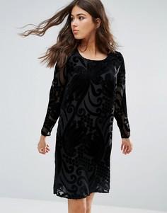 Бархатное цельнокройное платье Only Studio Yoko - Черный