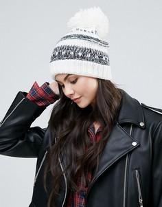 Объемная шапка-бини Alice Hannah - Кремовый