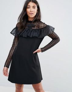 Платье А-силуэта с длинными рукавами из сетки в горошек и оборкой Amy Lynn - Черный