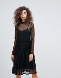 Двухслойное платье с высоким воротом Gestuz - Черный