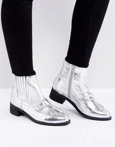 Кожаные ботинки с кисточками и эффектом металлик Park Lane - Серебряный